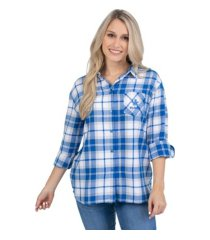 ug apparel kentucky wildcats women's flannel boyfriend plaid button up shirt