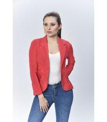 chaqueta blazer dama dril rojo di bello jeans  classic jacket ref c091