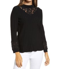 women's ming wang lace inset mock neck sweater, size medium - black