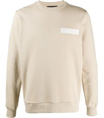 john richmond logo patch cotton sweatshirt - neutrals