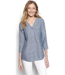 lightweight linen v-neck shirt