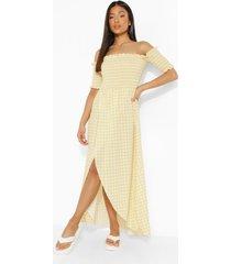 petite geplooide ginghaml maxi wikkel jurk, yellow