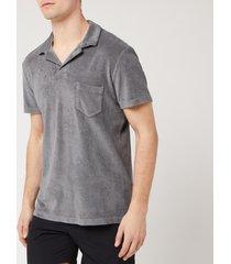 orlebar brown men's terry polo shirt - granite - s