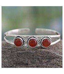 carnelian cuff bracelet, 'delightful' (india)