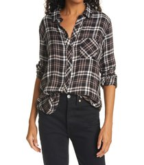 women's rails hunter plaid button-up shirt, size x-small - brown