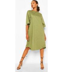 cotton roll sleeve oversized midi dress, khaki