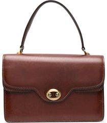 a.n.g.e.l.o. vintage cult 1970s flap satchel bag - brown