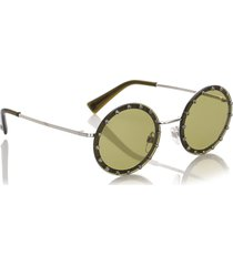 valentino crystal embelished round tinted sunglasses green sz: