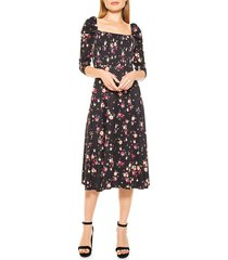 alexia admor women's puff-sleeve floral a-line dress - red floral - size 12