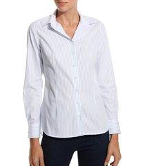 camisa dudalina manga longa tricoline fio tinto gola composê feminina (listrado, 46)