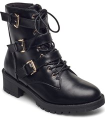 biaclaire basic biker boot shoes boots ankle boots ankle boot - heel svart bianco