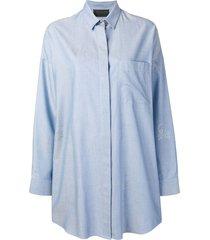 philipp plein short shirt dress - blue