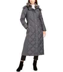 london fog petite faux-fur-club-collar maxi down puffer coat