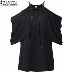 zanzea summer style women halter neck bowknots elegant off shoulder blusas camisas casual slim chiffon tops (negro) -negro