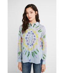 ethnic brushstrokes shirt - blue - xxl
