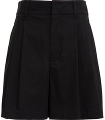 red valentino black cotton shorts with pleated detail