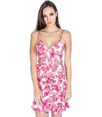 vestido neoprene floral colcci