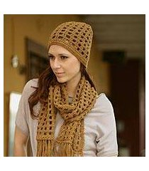 100% alpaca scarf and hat, 'ochre puzzles' (peru)