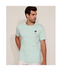 camiseta masculina coqueiros ao vento manga curta gola careca azul claro