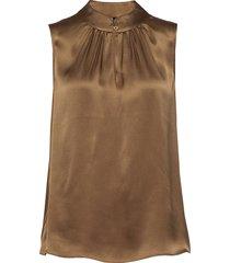 double silk - prosi top blus ärmlös brun sand