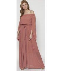 vestido largo con cinturon design rosa 609 seisceronueve