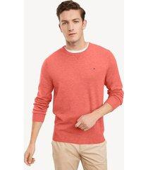 tommy hilfiger men's essential crewneck sweater heather red - xl