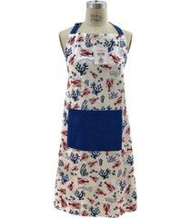 mod lifestyles lobsters and coral print tie-back big front pocket apron