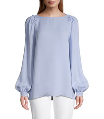 lafayette 148 new york women's albright bishop-sleeve silk blouse - french blue - size s