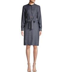 chambray tie-waist dress