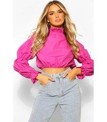 cotton poplin high neck puff sleeve blouse, raspberry
