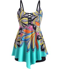 plus size leaf print lattice skirted boyshorts tankini swimwear