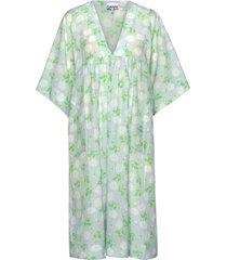 cotton silk jurk knielengte groen ganni