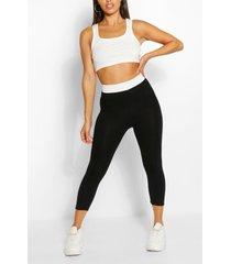 3/4 basic jersey legging met contrasterende tailleband, zwart