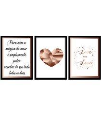 kit 3 quadros decorativos com moldura para sala quarto casal rose