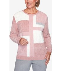 alfred dunner women's plus size classics patchwork sweater