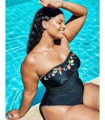 seville curve non-wired embroidered black strapless bandeau tummy control one-piece swimsuit