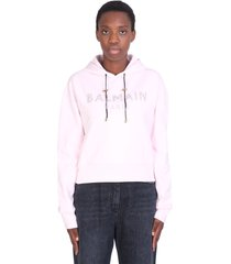 balmain sweatshirt in rose-pink cotton