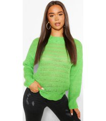 open knit textured sweater, apple green