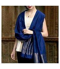 cotton and silk shawl, 'lapis radiance' (india)