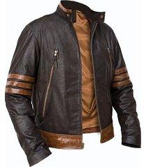 custom handmade x-men wolverine leather jacket, xmen brown leather jacket