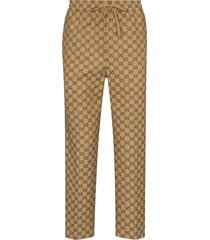 gucci gg canvas trousers - brown