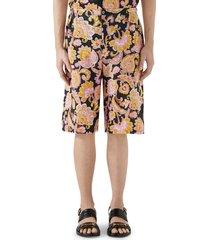 men's gucci paisley linen shorts, size 50 eu - black