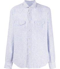 eleventy texas striped-print shirt - blue