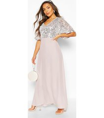 petite occasion sequin angel sleeve maxi dress, silver