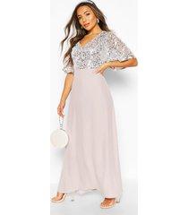 petite maxi-jurk met lovertjes en engelmouwen, zilver