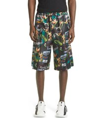 men's givenchy motel car print silk bermuda shorts, size 54 - black