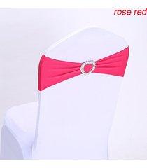 presidente 10pcs la silla del estiramiento elástico spandex banda banda del corazón hebilla de decoración de la boda - rosa roja