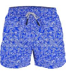 pantaloneta  geo tribal blue steam beachwear