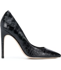 paul warmer 110mm pointed croc-effect pumps - black