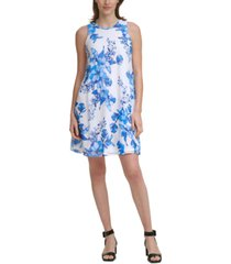 calvin klein floral-print a-line trapeze dress